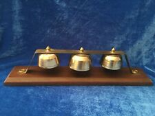 3 Antique / Vintage Mounted Brass Sleigh Bells For Carriage Buggy Amazing Sound!