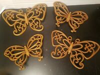 Vintage Butterflies HOMCO Faux Wood Wicker Wall Decor Plaques 1978 Set of 4    D
