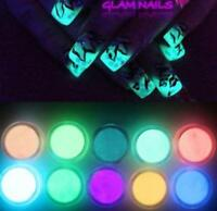 10 Neon Colors Phosphorescent FLUORESCENT Powder Glow In Dark Nail Art Acrylic #