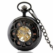 New Black Mechanical Necklace Retro Steampunk Pocket Watch Antique Skeleton Gift