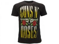 T-Shirt Originale Guns N' Roses Nera SCRITTA Novità Pistole e Rose Rock Maglia