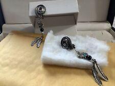 Dangle Earrings Clip On Silvertone With Bear