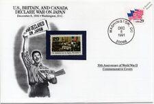 La segunda guerra mundial 1941 US, GB y Canadá declarar la guerra en cubierta de sello de Japón (EE. UU./Danbury Mint)