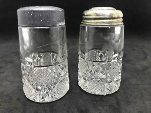 EAPG  Glass Salt Pepper Shakers O'Hara Glass Co Acid Etch Floral 1888