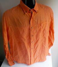 TAILOR VINTAGE Orange 100% Linen LS Button Down Shirt Hawaiian Flip Cuff SZ LG