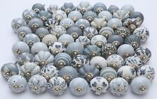 Assorted Grey & white Ceramic Knobs Handpainted Kitchen Cabinet Drawer Pulls 20