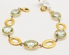 14k Yellow Gold Green Amethyst Oval Link Bracelet