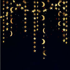 Hanging Gold Star Moon Garland for Twinkle Little Star Eid Mubarak Home Decor