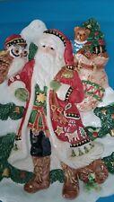 Fitz & Floyd Christmas Canape Plate Santa Snow Tree Gifts & Toys