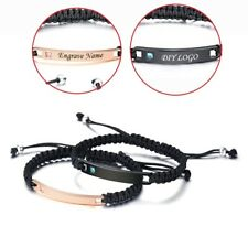 Customize Engraved Braid Bracelet Men Women Stainless Steel Personalized Gift