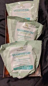 3 PACK Nurture No Rinse Shampoo Cap Shower Condition PH-Balanced Hypoallergenic