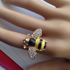Sweet Little Yellow Black Gold Enamel Rhinestone Bumble Bee Adjustable Ring