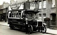 OLD PHOTO Early London Bus With Open Top Deck 1920s 2