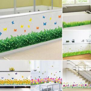 3D Skirting Wall Sticker Flower Grass Art Mural Home Room Dec DIY Decals New