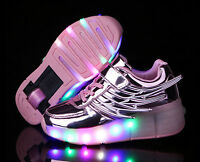 Kids Retractable Wheel Roller Skate Youth Boys Girls LED heelys Shoes Trainers