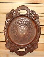 Vintage hand carved wood ornate floral serving tray