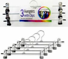 3 x Strong Metal Clip Hangers Clothes Chrome Coat Waistband For Trouser & Skirt