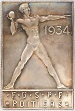 French Art Deco lapel pin badge gymnastics athletics sport PGSPF Poitiers 1934