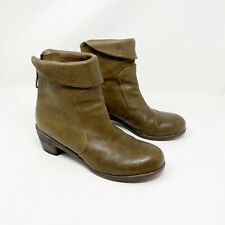 P. Monjo Women's Annisa Green Leather Ankle Boots Booties Size US 8.5 EU 38.5