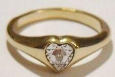 bague chevalière jonc plaqué or bijou vintage coeur cristal diamant T 56