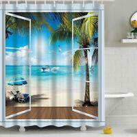 3D Shower Curtain Vivid Sandy Beach Scenery Polyester Waterproof 180 x 180 cm CY