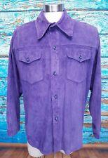Lavorazione Artigianale Suede Leather Purple Womens Large Jacket Italian Made