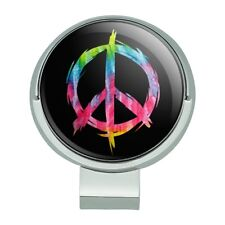 Tie Dye Peace Sign Golf Hat Clip With Magnetic Ball Marker