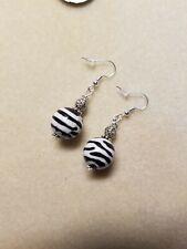 Beaded Earrings Sterling Silver Hooks Zebra Lampwork Beads