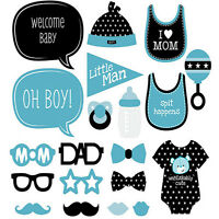 24pcs  Blue Baby Shower Photo Booth Props New Born Boy Mister Party Decorations