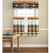 Southwestern Kokopelli 3 Piece Curtains Set Valance Kitchen Curtains New!