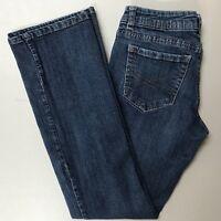 Aeropostale Womens Jeans Size 5/6 Short Blue Chelsea Boot Cut Low Rise Distress