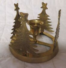 """Vintage Christmas Tree Candle Holder Ring Brass Holiday 3.5"""" high India"""
