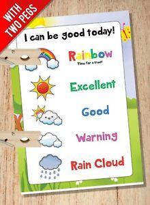 Peg Reward Chart - Weather Cloud Rainbow System - Childrens Kids Behaviour Chart