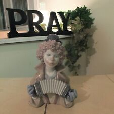 Lladro Fine Melody # 5585 Musical Clown Bust w/ Accordion Mint Fast Shipping!