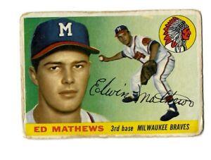 1955 Topps ED MATTHEWS #155 Milwaukee Braves POOR