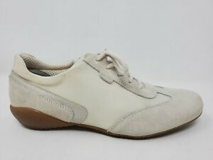 Geox Womens Walking Shoes Size 8 38 White Leather Lace Up Sneakers