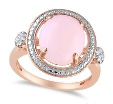 Round Pink Opal Ring w/ Diamond Side Stones Sterling Silver 2.04 Carot