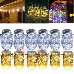 1/3/6PCS Mason Jar Lid LED Fairy String Lights Solar Powered Garden Party Decor