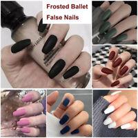 24PCS Medium Square False Nails Frosted Ballet Full Cover Fake Nail Tips Set