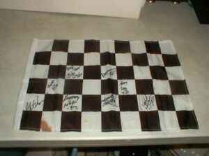 Vintage NASCAR Racing Checkered Flag SIGNED by 9-Drivers HELP ID NAMES