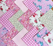 "50 x 4"" fabric patchwork Square Pretty Pink Mix Floral Girl quilting Craft Chic"