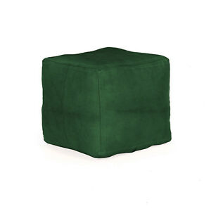 Green Color Buff Leather Square Moroccan Unfilled Pouf Cover