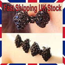 Black Bow Stud Earrings Butterfly Fashionable Pretty  *Free Velvet Gift Bag*