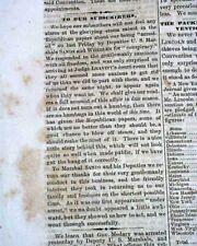 Rare Samuel Medary Crisis Editor Arrested & Abraham Lincoln 1864 Civil War News