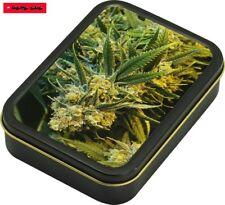 Square box lata de metal con tapa (hermético) motivo Weed/8cm x 11cm