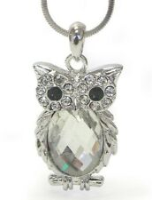 Oval Owl Pendant Necklace Deco Glass Pendant Jewelry Gift for Women