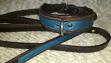 Thellie  Bridle Leather Electric Blue shimmer Dog Collar 60 cm & Lead Set Large