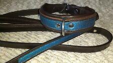 Thellie Briglia In Pelle Blu Elettrico Scintillante collare per cani 60 CM & cavo di grandi dimensioni