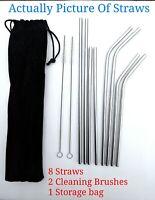 Long Reusable Stainless Steel Drinking Straws Metal for 20 & 30 Oz Yeti Tumbler