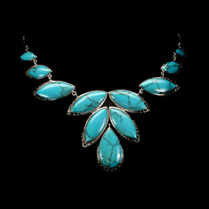Necklace Turquoise and Swiss Marcasite Genuine Gems Sterling Silver 17 Inch